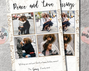 PEACE AND LOVE Card {Love and Blessings} {Merry Christmas} {Holiday} {Photo} {Collage} {Printable}