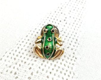 Vintage Green Frog Lapel Tack Pin