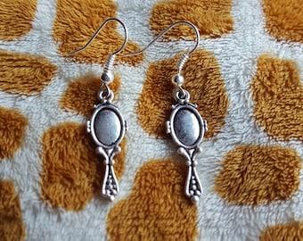 Hand Held Mirror Drop Earrings