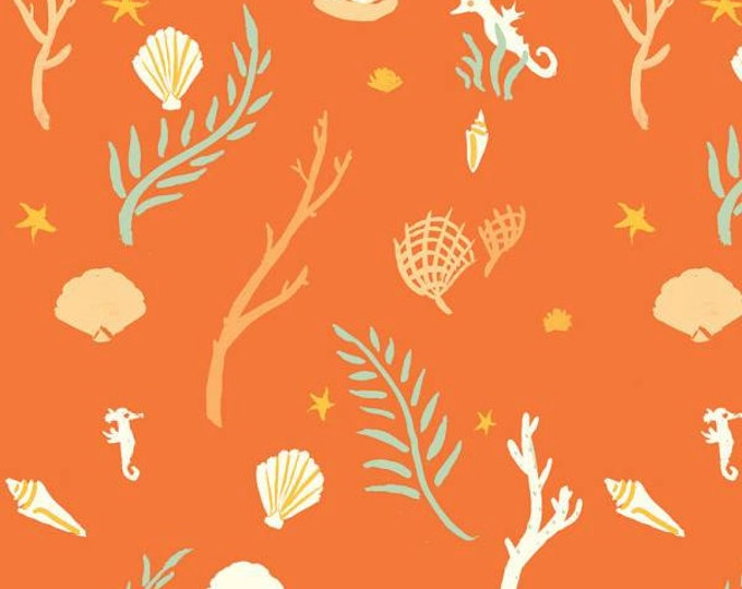 Birch Fabrics - Saltwater - Flotsam and Jetsam Coral - Organic Cotton Woven Fabric - FINAL CLEARANCE