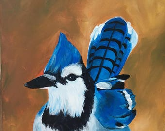 Bluejay Acrylic Painting