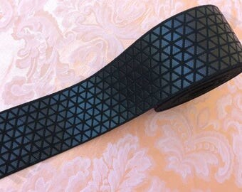 "Elastic fancy black diamond pattern geometric designs 2"" (5cm) shoes bags belts"