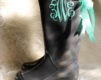 Monogramed Rain Boots