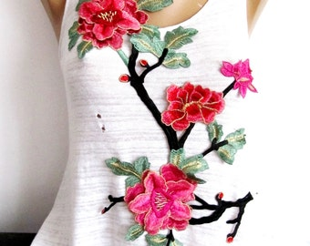 Stilo Flower Patch,Messy Branched Flower Applique,Pink Flower Applique,Huge Patch, Lurex Flower,Sew On Patch,Embroidered Patch