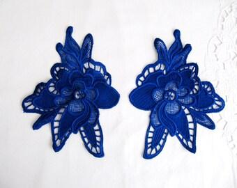2Pcs.Mirror Lace Patch,Saxe Blue Lace Applique,Lace Patch,