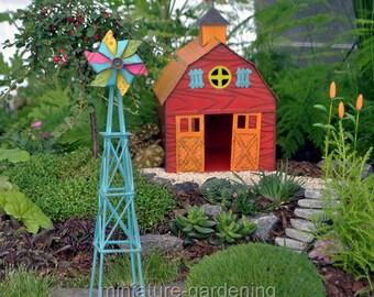 Sky Blue Windmill for Miniature Garden, Fairy Garden