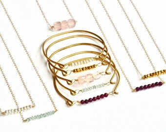 Gemstone Necklace & Bracelet Set, Birthstone Jewelry Set, Birthstone Necklace Bracelet Set Gemstone Jewelry Set