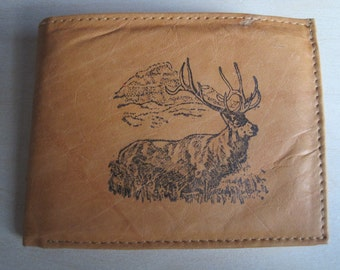 "Mankind Wallets Men's Leather RFID Blocking Billfold w/ ""Elk Hunting"" Image~Makes a Great Gift!"