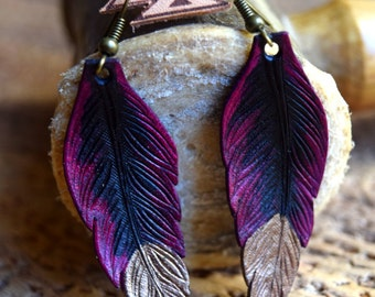 Leather Feather Earring / Two-toned / Bronze Tipped Dangle Earring / Black and Purple