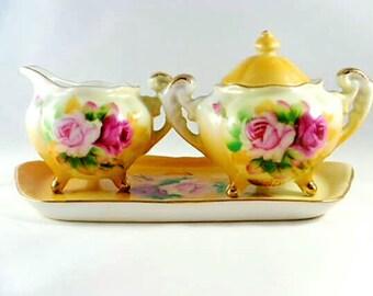 Vintage Lefton Creamer and Sugar Bowl Set/ Rose Pattern