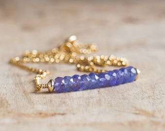 Tanzanite Bar Necklace, December Birthstone, Tanzanite Jewellery, Periwinkle Blue Gemstone Necklace, Gemstone Jewelry, Birthstone Necklace