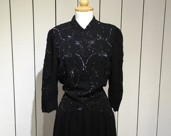 Original 1940's sequined crepe gown - Oozing the glamour of the 1940's with stunning sequin snd embroidered detail.