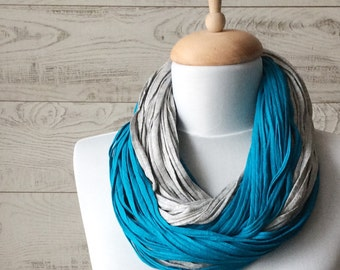 Blue Scarf Teal Scarf Jersey Scarf Cotton Scarf Women Scarf Infinity Scarf Noddle Scarf Cotton Scarf Loop Scarf Summer Scarf