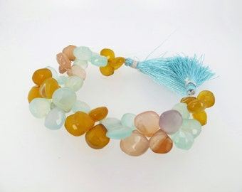 Colorful chalcedony beads. Chalcedony Briolette beads. Full strand gemstone beads