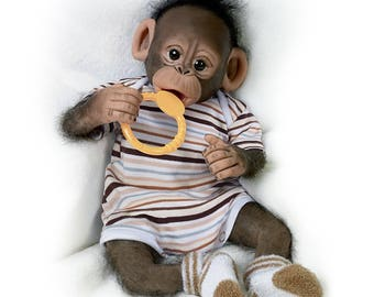 Ashton Drake - Baby Zeke So Truly Real Baby Monkey Doll by Cindy Sales
