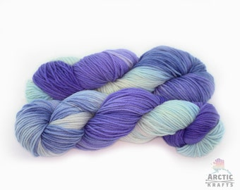 Twilight, hand dyed worsted weight superwash merino wool yarn 220 yards