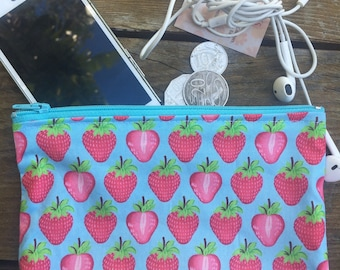 Handmade in Australian Blue Cotton with Strawberries Coin purse , makeup bag , mobile holder , opal card holder , bag organisers.