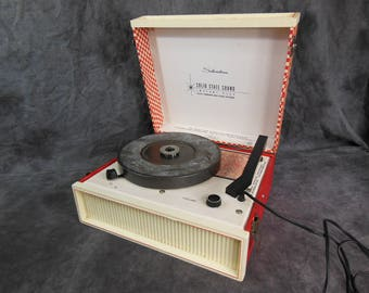 Sears Solid State Portable Record Player, Vintage, Solid State, Silvertone