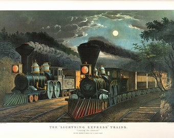 The Lightning Express Trains an Extra Large Bookplate from Currier and Ives. The page is 18 3/4 wide and 14 inches Tall.