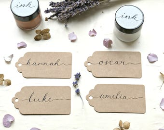 Scalloped Brown Rectangle Name Tag Place Card & Hand Lettering, Wedding Calligraphy, Luggage Tag, Wedding Place Name Card