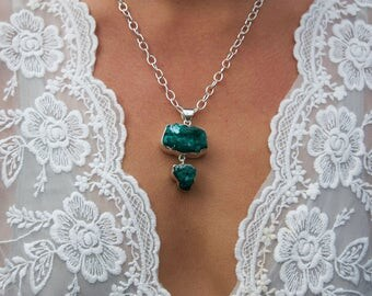 One of a Kind Raw Dioptase Double Pendant in Sterling Silver