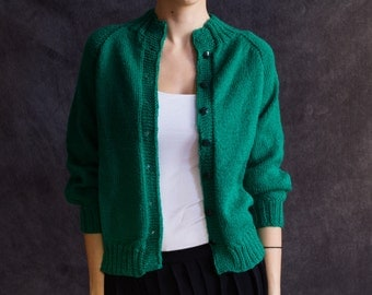 Green cozy sweater, hand knitted