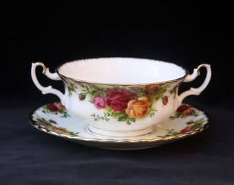 Royal Albert Old Country Roses Two Handled Soup Coup or Bowl and Stand Pristine (Three available) Reserved for O
