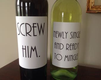 FREE SHIPPING! Break up wine label. Console a friend during a break up. Encouragement.