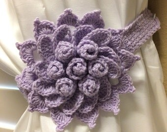Crochet Curtain Tieback - Lavender color flower - 1 pair