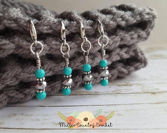 Silver and Turquoise stitch markers, crochet stitch markers, knitting stitch markers, gift for her, removable stitch marker, knit gift