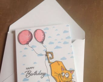 Sky kitty birthday card