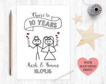 10th wedding anniversary card, 10th anniversary card, 10 years together, cheers to 10 years, 10 year anniversary, personalised anniversary