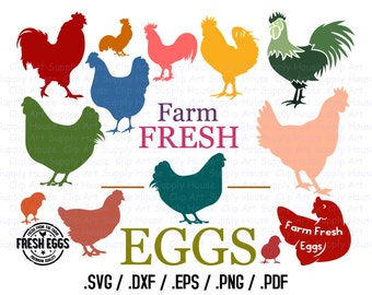 Chicken & Urban Farming Design Files, Backyard Farm Use With Silhouette Software, Cricut File, DXF File, EPS File, Svg Chicken - CA406