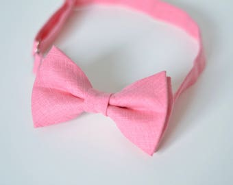 Bright Pink Linen Bow Ties