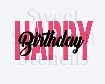 Happy Birthday 2 Part Cookie Stencil