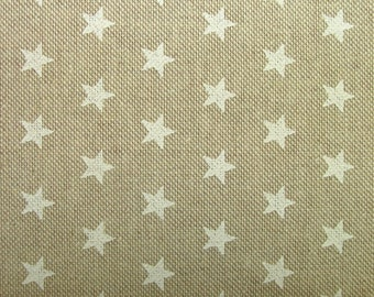 Natural Linen Look White Stars Fabric Curtains Patchwork Quilting Use