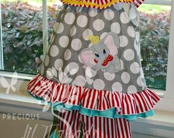 Big Ear Elephant Ruffle Collar Tunic Top with Ruffle Pants/shorts - OR - Ruffle Collar Dress - Baby girls, Toddler Girls, Girls size 6m-10y