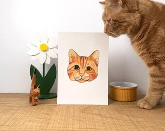 Hand Painted Cat Portrait // Watercolour Animal Portraits // Personalised Pet Portrait Painting // Painted Cat Illustration