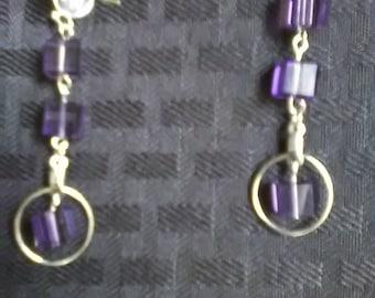 Purple Cube Dangle Earrings