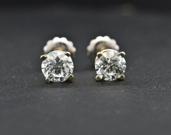 14K White Gold & Genuine Diamonds (1.20 cttw) screw back pierced Earrings 1.1g