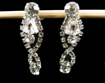 Rhinestone Earrings with Screw Back, V21