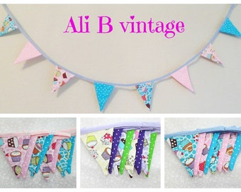mini bunting, cupcake bunting, cake design bunting bunting cupcakes polkadot bunting  childs bedroom decor home decor bunting 1 metre length