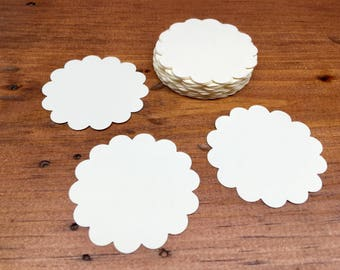 Scallop Circle Die Cuts - Cream  Scallop Circles - Circle Tags - Baby Shower Tags - Card Stock Die Cuts - 24 Count
