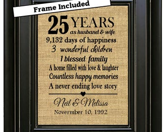 FRAMED Personalized 25th Wedding Anniversary Gift/25th Anniversary Gifts/25th Anniversary Gift for Parents/25th Anniversary Gift for couple