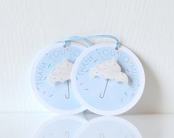 Cupcake Sprinkle Tags: Thank you tags with a frosting umbrella, decorate for baby shower, kids party, bridal sprinkle - LRD019TG