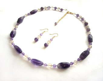 Amethyst necklace Amethyst set Rutilated quartz set Wife birthday gift Deep purple stone February birthstone Birthstone jewelry Womens gift