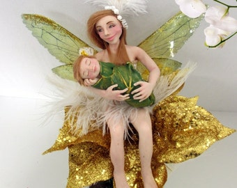 Unique handmade OOAK polymer clay doll-fairy with her baby