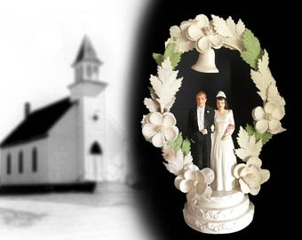 Vintage Wedding Cake Topper with Composition Bride and Groom and Arbor with Bell, Dated 1947