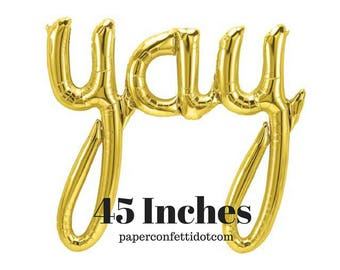 YAY Balloon | 46 Inches | Gold Foil Balloon | Engagement Decorations | Party Decorations | Banners | Celebration | Baby Shower Decorations