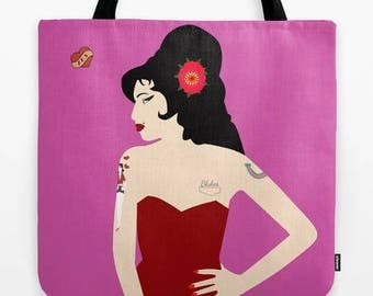 Amy tote bag-Pink tote bag-Gift ideas-Pin up tote bag-Rock star tote-Cool Fashion bag-Printed tote bag-Colourful shopping bag-Gifts for her